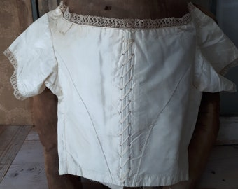 antique early victorian late regency bodice 1800 1800's silk cream french 19th century