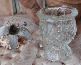 vintage glass candle holder  old decorating decoration christmas