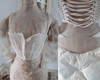 RARE antique bra lingerie corset cover brassiere 1900 1900s 11910 1910s 1920 1920s victorian edwardian flapper french white creame