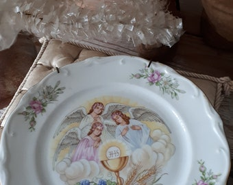 vintage old religious plate ornament religion decoration christmas angel angels