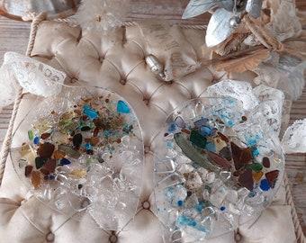 2 vintage old handmade glass hangers decoration
