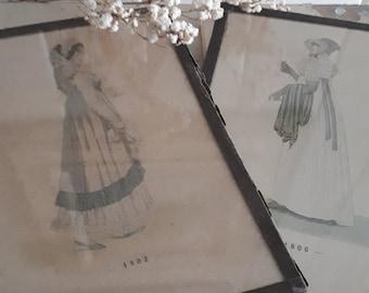 vintage old 2x framed painting drawing regency lady ladies dress bodice