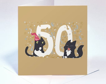 50th Birthday Card Gold Beautiful And Bright Golden For 50 Year Old Black Cats Fun Greeting High Quality