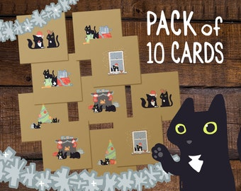 10 Cat Christmas Cards, gold Holiday cards, cute cat Christmas cards, gold cat cards, cat lover holiday cards set, pack of black cat cards