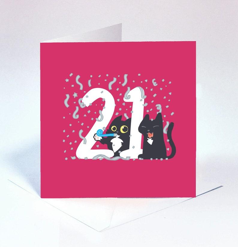21st Birthday Card Deep Pink Cute And Fun Cat