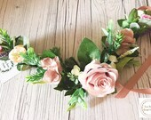 Blush Mauve and Pink Rose, Hydrangea and Rosemary Floral Wedding Dog Collar Wedding Dog Canine Garland Adornment Flower Crown for Dogs