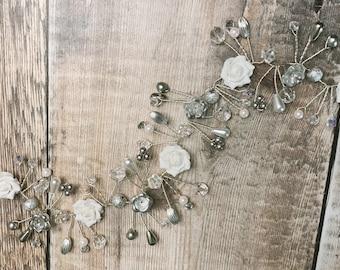 Beautiful silver and White Rose Swarovski Crystal and Pearl Rhinestone Wedding Bridal Hair Vine