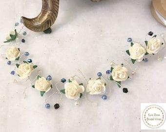 Ivory Cream Mulberry Rose Blue Swarovski Crystal Bridal Wedding Hair Vine Bride Brisesmaid Hair Accessory