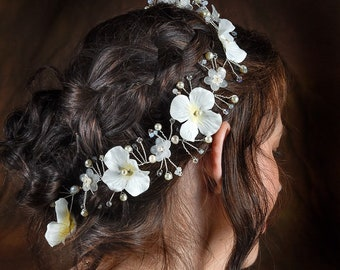 Ivory Floral Flower Hydraenga Crystal Pearl Wedding Bridal Hair Vine Swarovski Hair Accessory