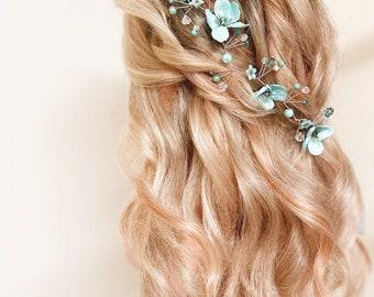 Swarovski Crystal and Pearl Teal Blue Floral Bridal Hair Vine Elsa Disney Frozen Wedding Bridal Vine Hair Accessory Rose Gold