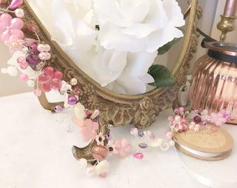 Pink Vintage Boho Bead Floral Pearl Prom Bridesmaids Bridal Hair Vine Hair Accessory