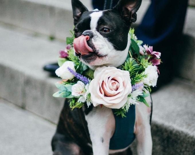 Blush Rose Mauve Ranunculus Eucalyptus, Lavender and Gypso Floral Wedding Dog Collar Wedding Dog Canine Garland Adornment Flower Crown