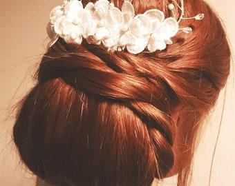 White Lace Flower Silver Pearl Crystal Swarovski Floral Flower Bridal Comb Wedding Hair Piece Bridal Hair Accessory