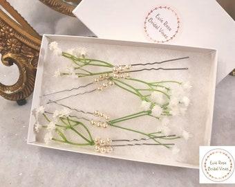 Pretty Floral Gypsophila Gypso Ivory Swarovski Pearl Flower Girl Flowergirl Bridesmaids Hair Pins Bridal Wedding Hair Accessory
