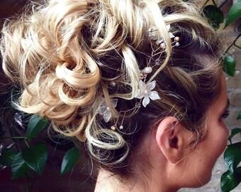 Beautiful Rose Gold Ivory Flower Swarovski Crystal Bridal Wedding Hair Vine Hair Accessory