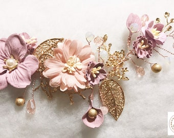 Rose Gold Blush Pink Nude Mauve Flower Floral Crystal Bridal Wedding Hair Vine Hair Accessory Hairpiece