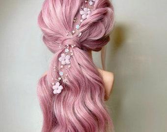 Blush pink nude rose gold velveteen floral Swarovski crystal and pearl bridal hair vine bridesmaids hair accessory wedding hair