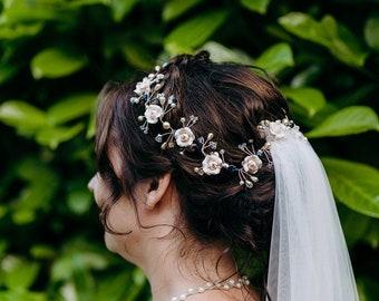 Ivory Cream Rose, Swarovski Crystal and Swarovski Pearl Bridal Vine Wedding Hair Vine Hair Accessory Floral Flower Hair Vine