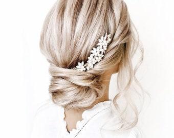Aquamarine opal rhinestone and pearl bridal wedding comb hair accessory in gold