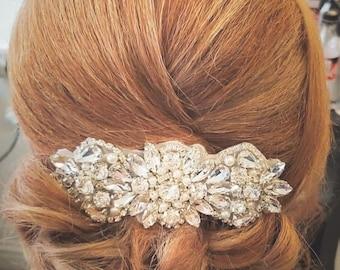 Silver Rhinestone Applique Sparkle Crystal Bridal Hair Comb Wedding Bridal Hair Accessory