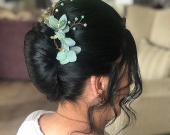 Teal Blue/Green and Gold Swarovski Crystal and Pearl Floral Hydrangea wedding bridal hair pins wedding accessories set of three