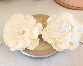 Set of two Cream Mulberry Paper Peony Bridal Hair Pins Hair Clips Hair Accessories Vintage Wedding Boho Festival