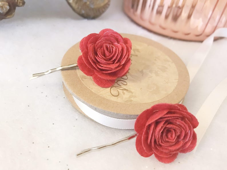 Beautiful Pair of Red Felt Rose Hair Bows Clips Wedding Flower Girl Bridesmaid Party Accessory