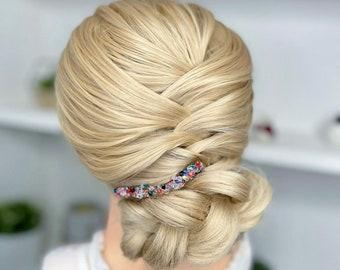 Rose Gold Rainbow Unicorn Tears Sparkle Crystal Swarovski Multi-Coloured Bridal Comb Wedding Bridal Hair Accessory