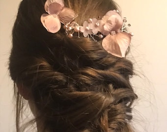 Dusky Pink Floral Hair Comb with Swarovski crystals and pearls wedding bridesmaid bride flower girl flower hair comb