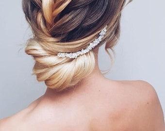 Beautiful Swarovski crystal silver wedding bridal hair pin hairpiece vintage sparkle wavy hairpin hair accessory sparkly
