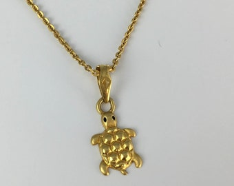 a325101a5bf 22K Solid Gold Turtle Chain, Symbol of Steadyness, Turtle Pendant, Tortoise  necklace, Solid gold Jewelry, Gifts for her