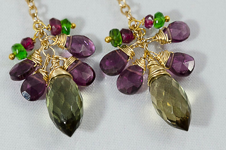 Mothers day gift Gemstone Earrings gift for her Wire Wrapped Jewelry Green Garnet Gemstone Cluster Earrings Green Earrings