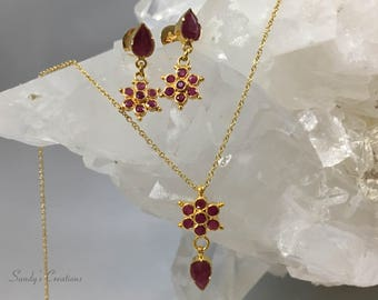 22k Solid Gold Ruby earrings and Necklace