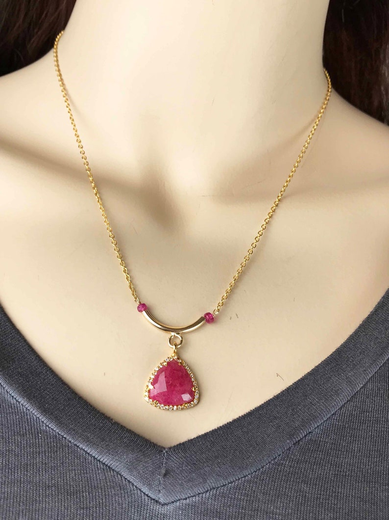 Ruby in white CZ gold Necklace