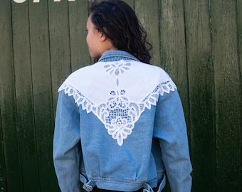 80s Faded Cropped Boxy Denim Jacket Doily Broderie Anglaise