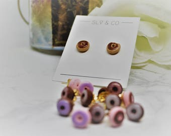S - Donut polymer clay gold metal closure stud earrings