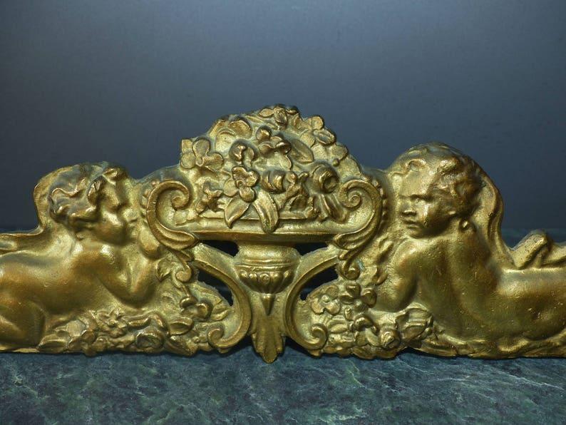 Gilt bronze furniture hardware Antique French bronze pediment Ormolu furniture pediment trim embellishment Cherubs with flowers