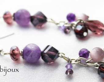 Purple cluster earrings