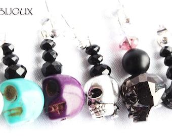 Fine skull and Crystal studs earrings