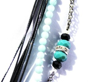 """Bracelet multi materials well be """"Collection winter"""" shades of pale green aventurine"""