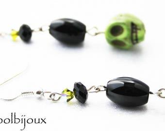 Santa muerte black and green earrings