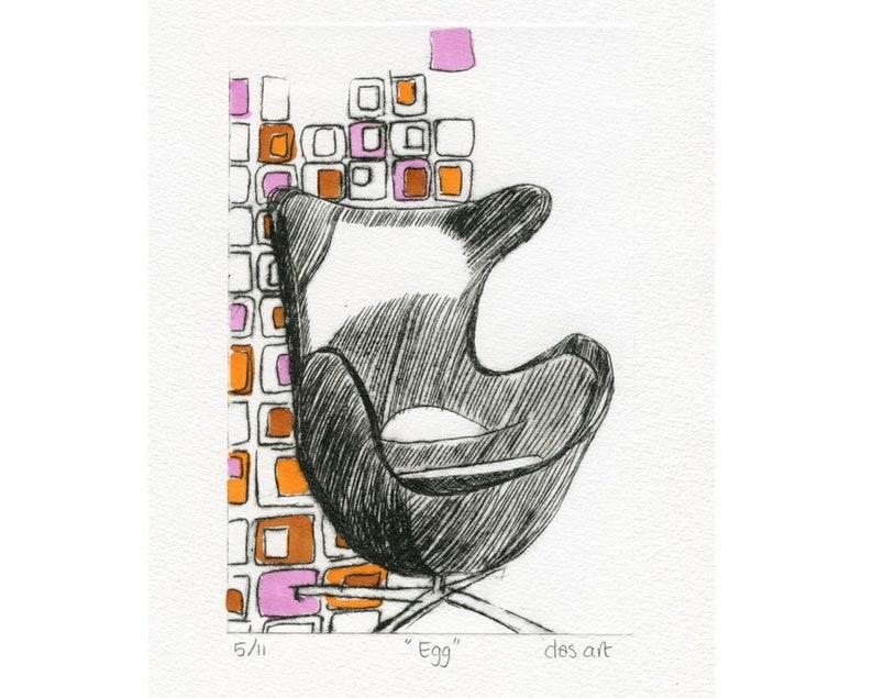 Fritz Hansen Design Stoelen.Original Etching Fritz Hansen Egg Chair Stoel Design Drypoint Etching Art Print Unique Artwork Mid Century Modern Retro Design