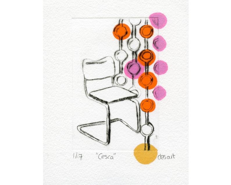 Retro Design Stoelen.Original Etching Cesca Stoel Design Chair Drypoint Etching Art Print Unique Artwork Mid Century Modern Retro Design