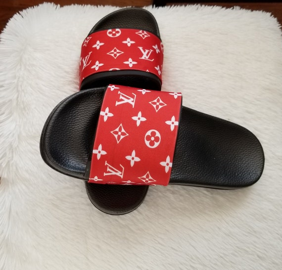 6b8a78c71e3e40 Louis Vuitton inspired slides Louis Vuitton men slides