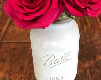 Lighted Distressed Mason Jar-Lace