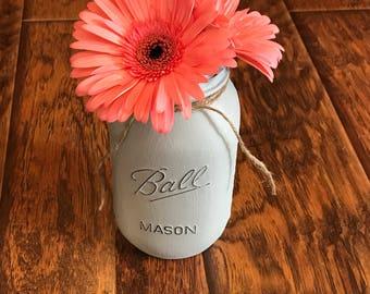Lighted Distressed Mason Jar-Aged Gray