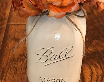 Lighted Distressed Mason Jar-Primitive (Beige)
