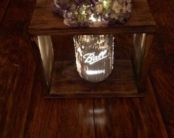 Rustic Flame-kissed Single Lighted-Floating Mason Jar Centerpiece