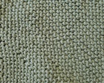 Handmade Knitted Dishcloth - Sage