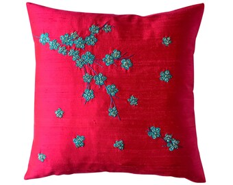 Kyoto Spring (large) cushion, turquoise and silver on fuchsia pink dupion
